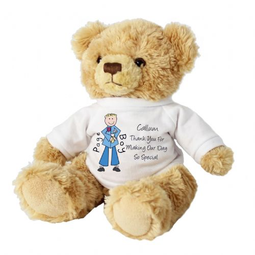 Personalised Cartoon Pageboy Message Bear